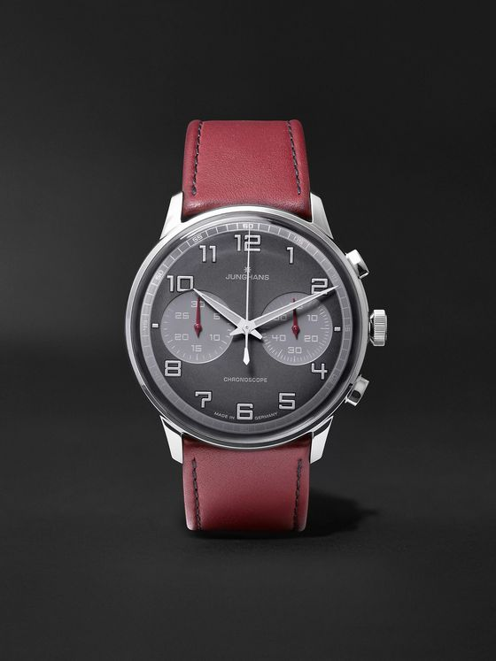 Junghans Meister Driver Chronoscope 45mm Stainless Steel and Leather Watch, Ref. No. 027/3685.00