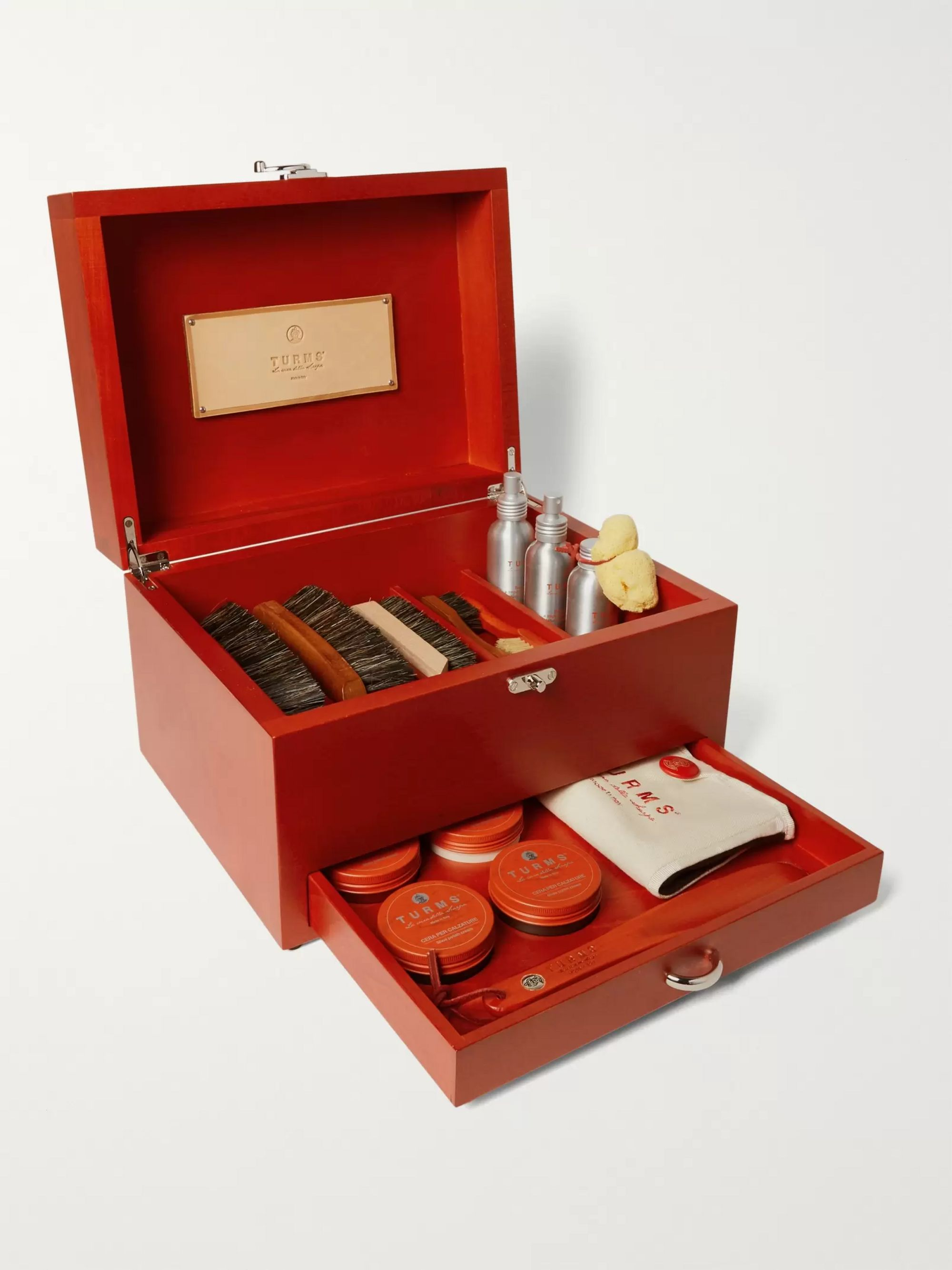 Turms Complete Shoe Care Kit with Wood Case