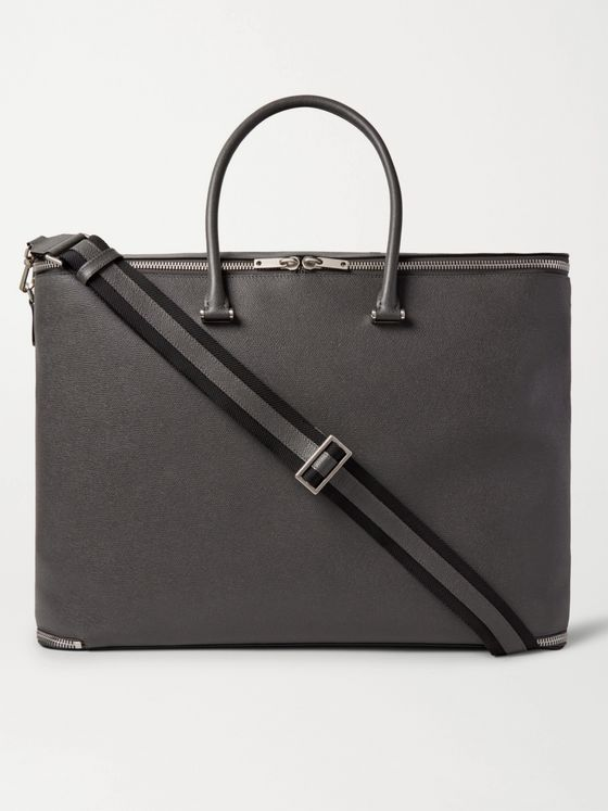 Valextra Versatile Pebble-Grain Leather Holdall