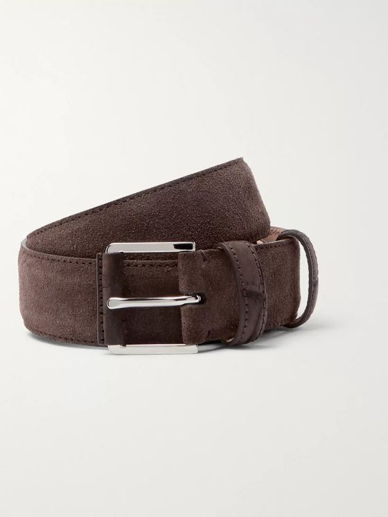 Loro Piana 3.5cm Taupe Maine Alligator-Trimmed Suede Belt