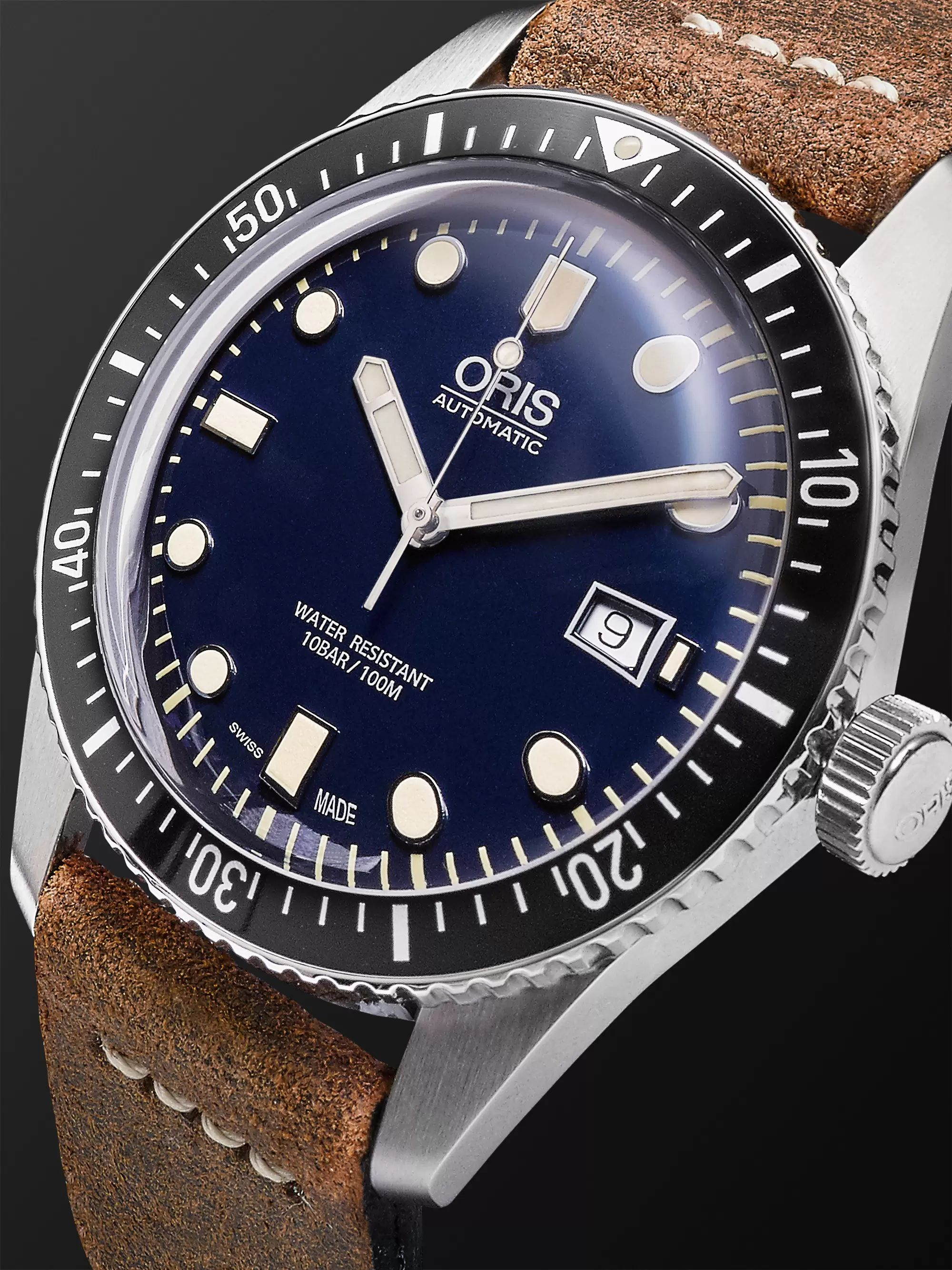 Oris Divers Heritage 65 Automatic 42mm Stainless Steel and Suede Watch, Ref. No. 01 733 7720 4055-07 5 21 02