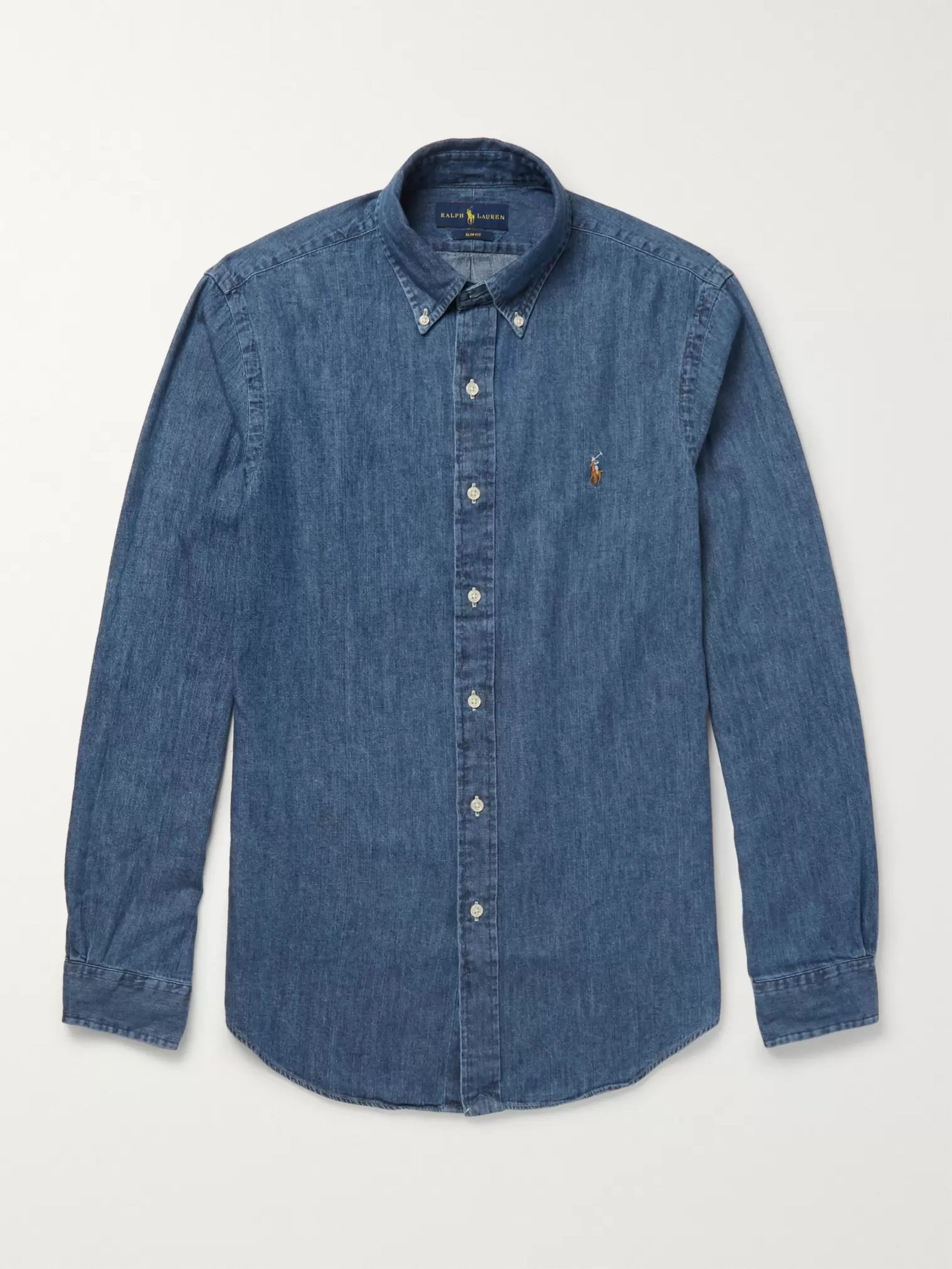 cb433bdc Slim-Fit Button-Down Collar Washed-Denim Shirt
