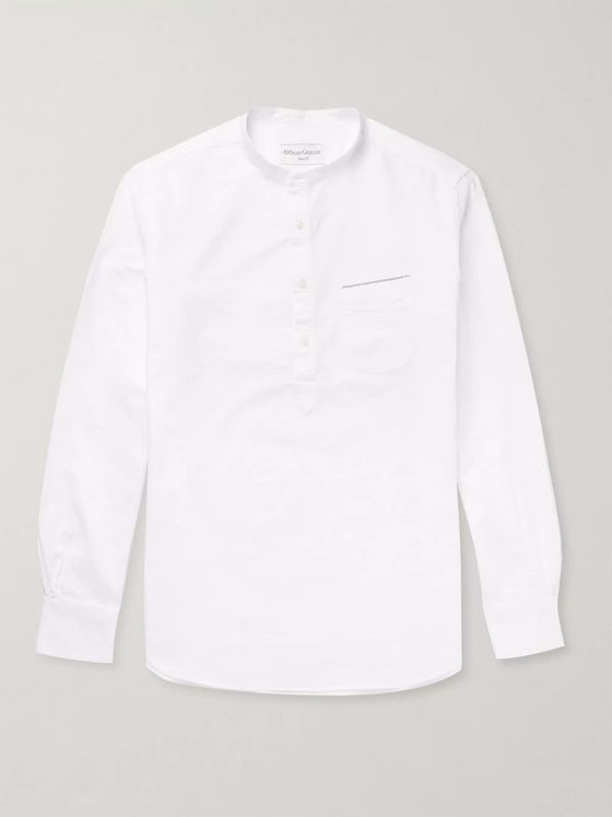Officine Générale Auguste Grandad-Collar Cotton Oxford Shirt