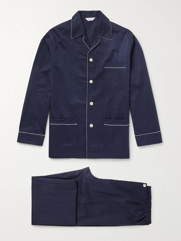 derek rose - royal pin-dot cotton-jacquard pyjama set - blue
