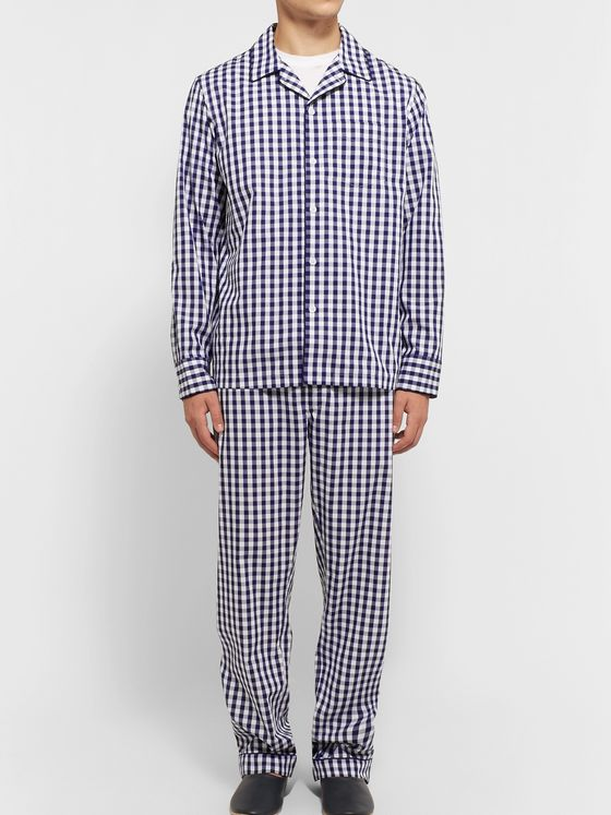 Sleepy Jones Henry Gingham Cotton Pyjama Shirt