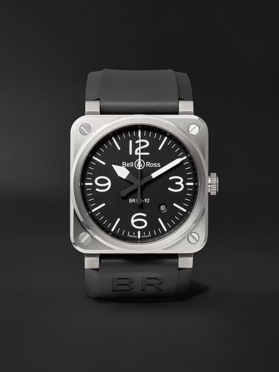BELL & ROSS BR 03-92 Steel Automatic 42mm Stainless Steel and Rubber Watch, Ref. No. BR0392‐BLC-ST