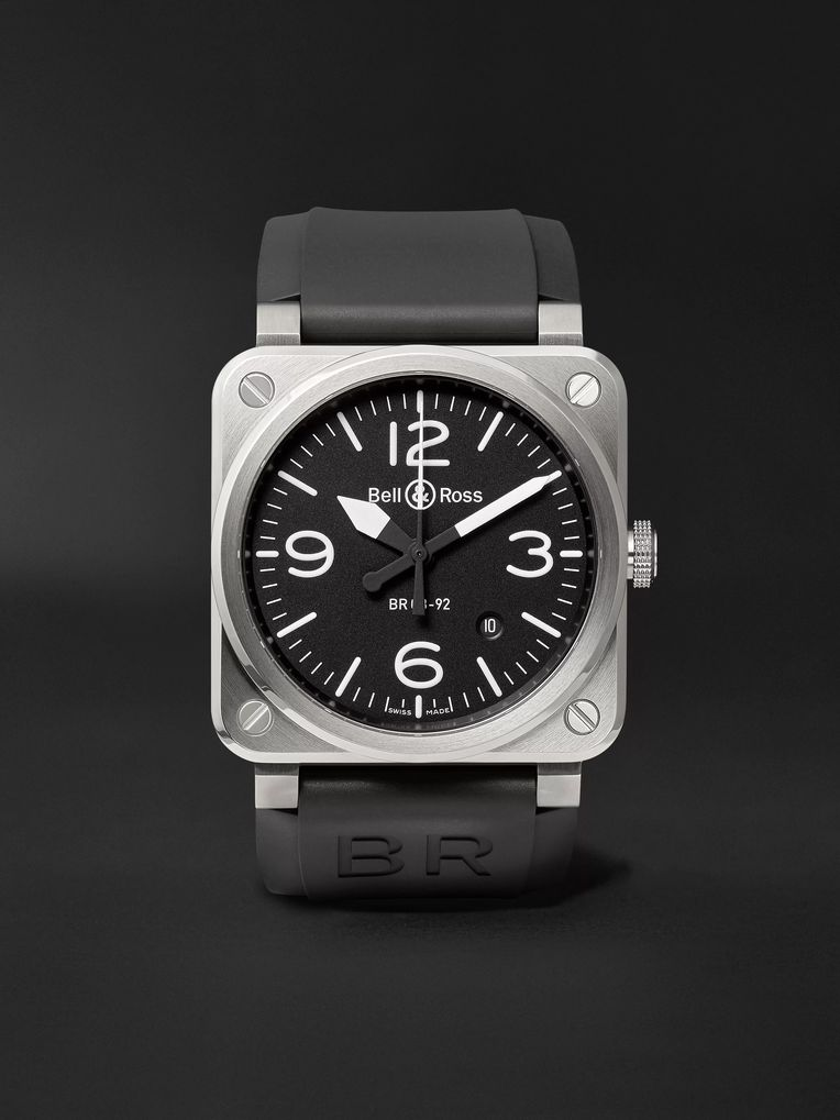 Bell & Ross BR 03-92 42mm Stainless Steel and Rubber Watch, Ref. No. BR0392‐BLC-ST