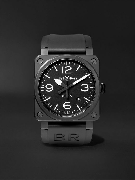 Bell & Ross Automatic 42mm Ceramic and Rubber Watch, Ref. No. BR0392‐BL‐CE