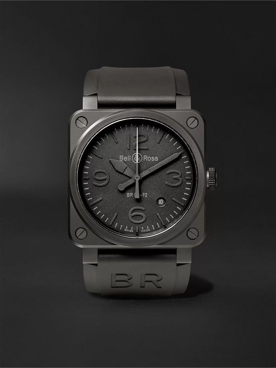 BELL & ROSS Phantom Automatic 42mm Ceramic and Rubber Watch, Ref. No. BR0392‐PHANTOM‐CE