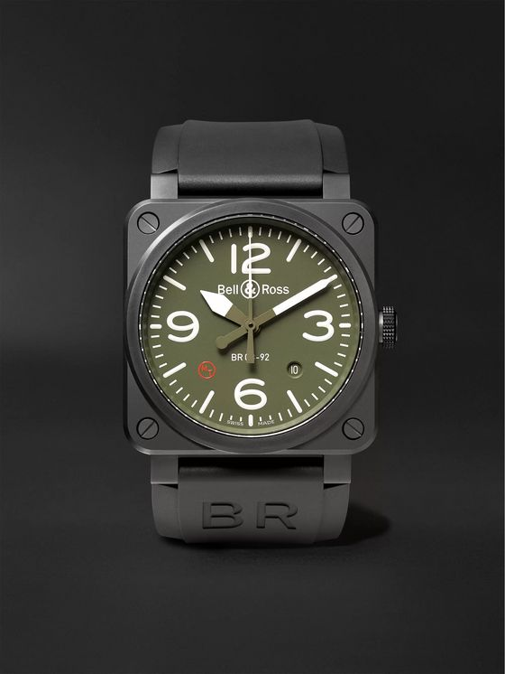 BELL & ROSS BR 03-92 Military Type Automatic 42mm Ceramic and Rubber Watch, Ref. No. BR0392‐MIL-CE