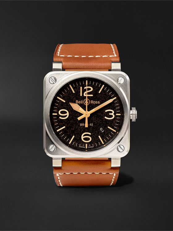 BELL & ROSS BR 03-92 Golden Heritage Automatic 42mm Steel and Leather Watch, Ref. No. BR0392‐ST‐G-HE/SCA