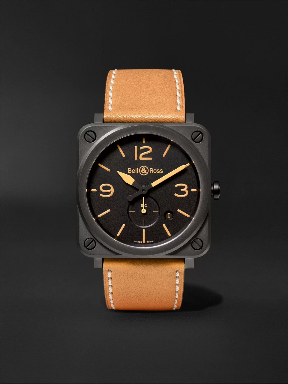 Bell & Ross BR S Heritage 39mm Ceramic and Leather Watch