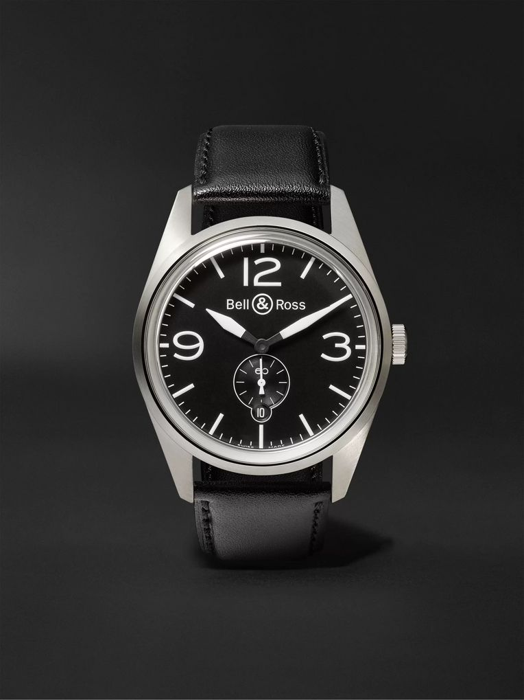 Bell & Ross BR 123 41mm Steel and Leather Watch, Ref. No. BRV123‐BL‐ST/SCA