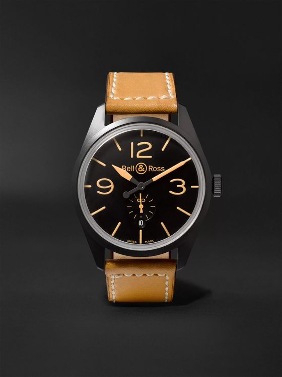 BELL & ROSS BR 123 Heritage Automatic 41mm PVD-Coated Steel and Leather Watch, Ref. No. BRV123-HERITAGE/2