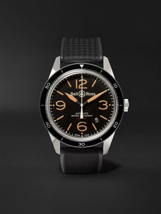 Bell & Ross BR 123 Sport Heritage Automatic Steel and Rubber Watch, Ref. No. BRV123-ST‐HER/SRB