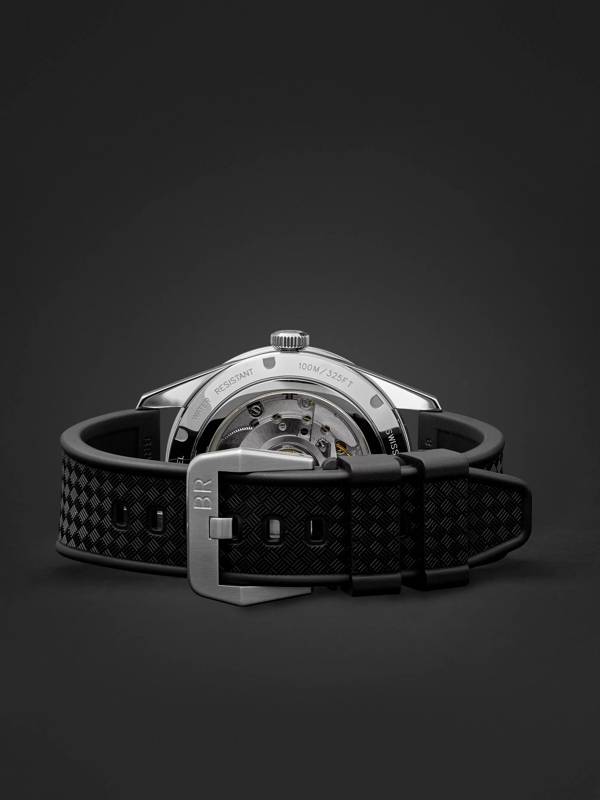 Bell & Ross BR 123 42mm Steel and Rubber Watch, Ref. No. BRV123-BL-GMT/SRB