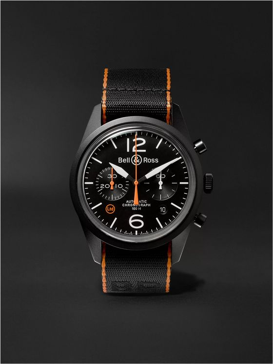 Bell & Ross BR 126 41mm Steel and NATO Canvas Chronograph Watch, Ref. No. BRV126‐O‐CA