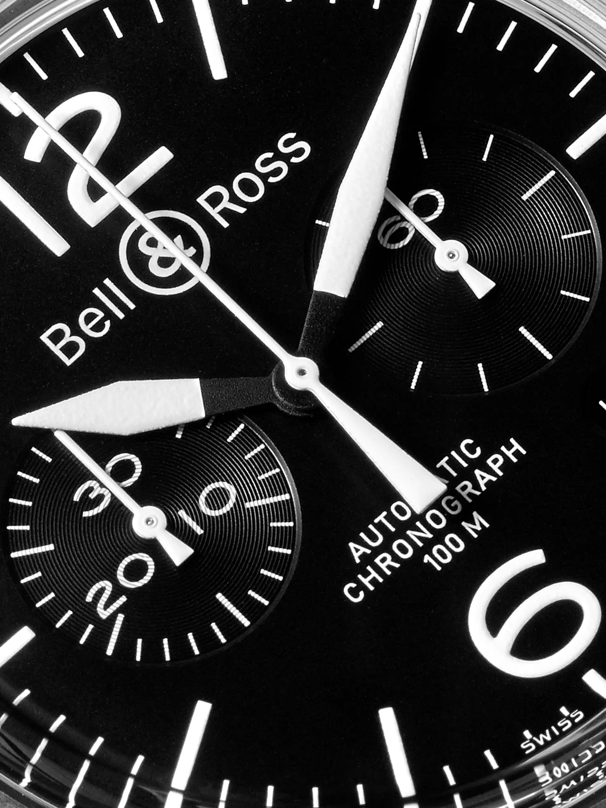 Bell & Ross BR 126 Automatic Chronograph 41mm Steel and Leather Watch, Ref. No. BRV126-BL-ST/SCA