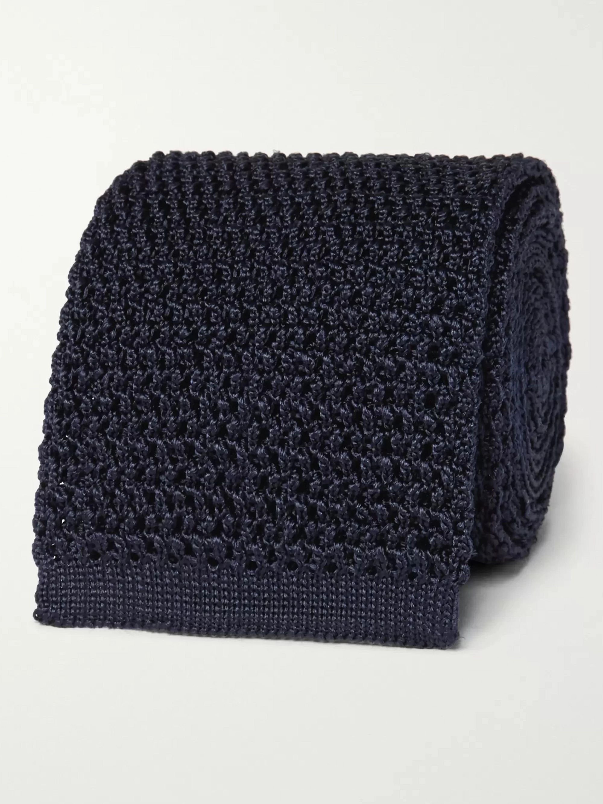 탐 포드 Tom Ford 7.5cm Knitted Silk Tie,Navy