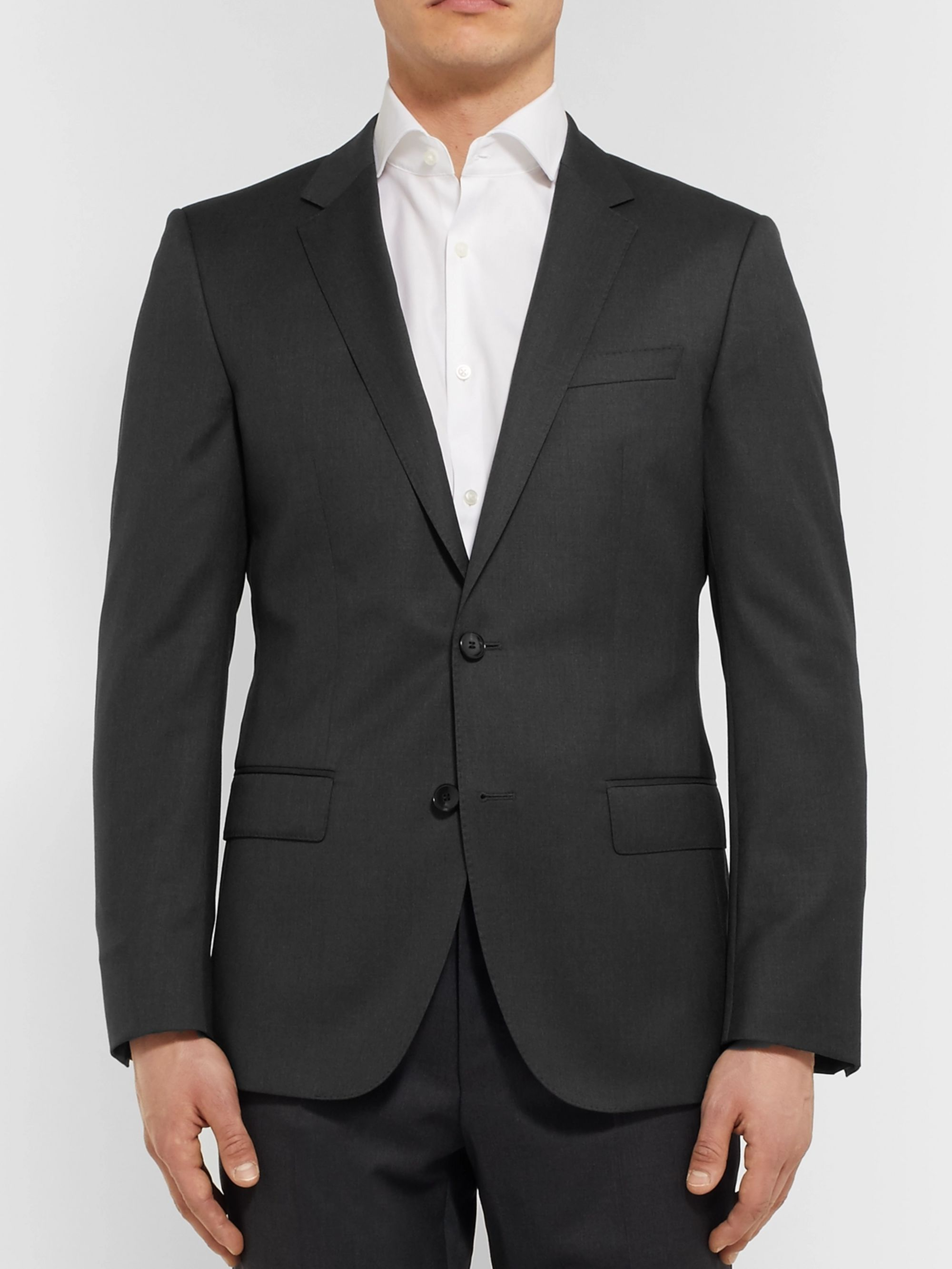 Hugo Boss Grey Hayes Slim-Fit Super 120s Virgin Wool Suit Jacket