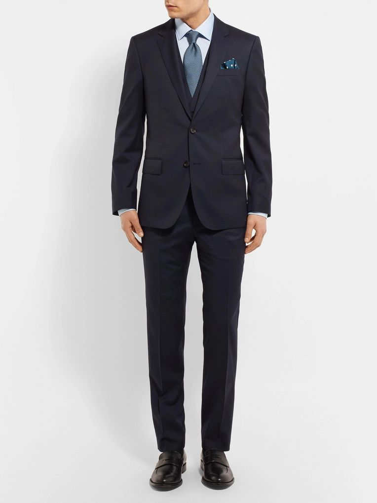 Hugo Boss Blue Gibson Slim-Fit Super 120s Virgin Wool Suit Trousers