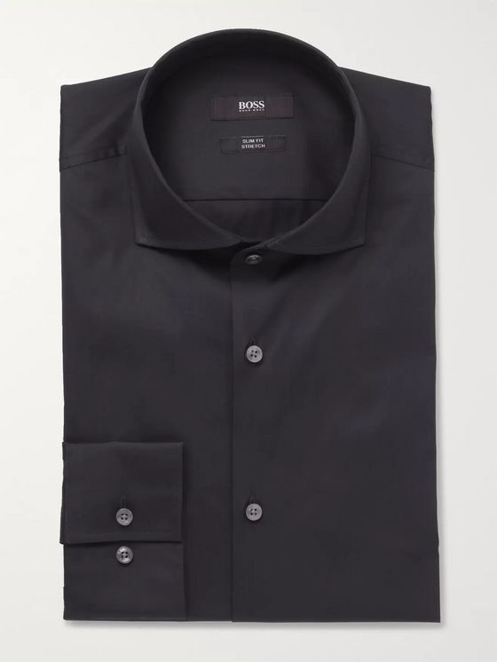 Hugo Boss Blue Jason Slim-Fit Cutaway-Collar Stretch Cotton-Blend Shirt