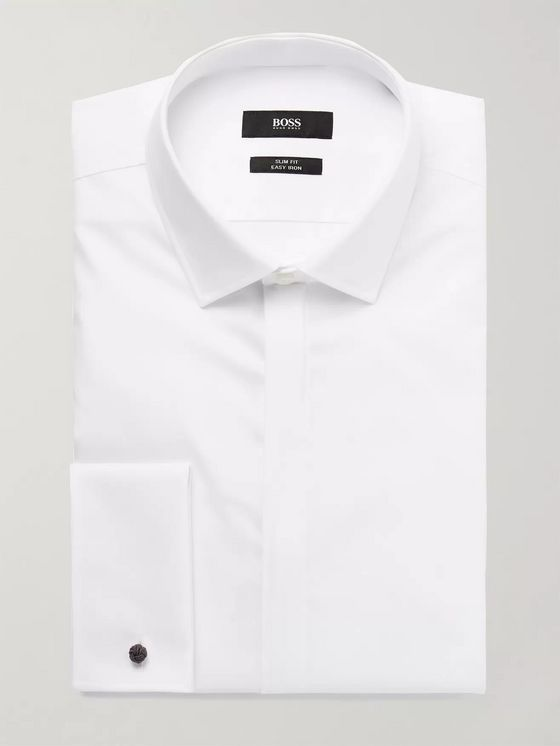 Hugo Boss White Jilias Slim-Fit Double-Cuff Cotton Oxford Shirt