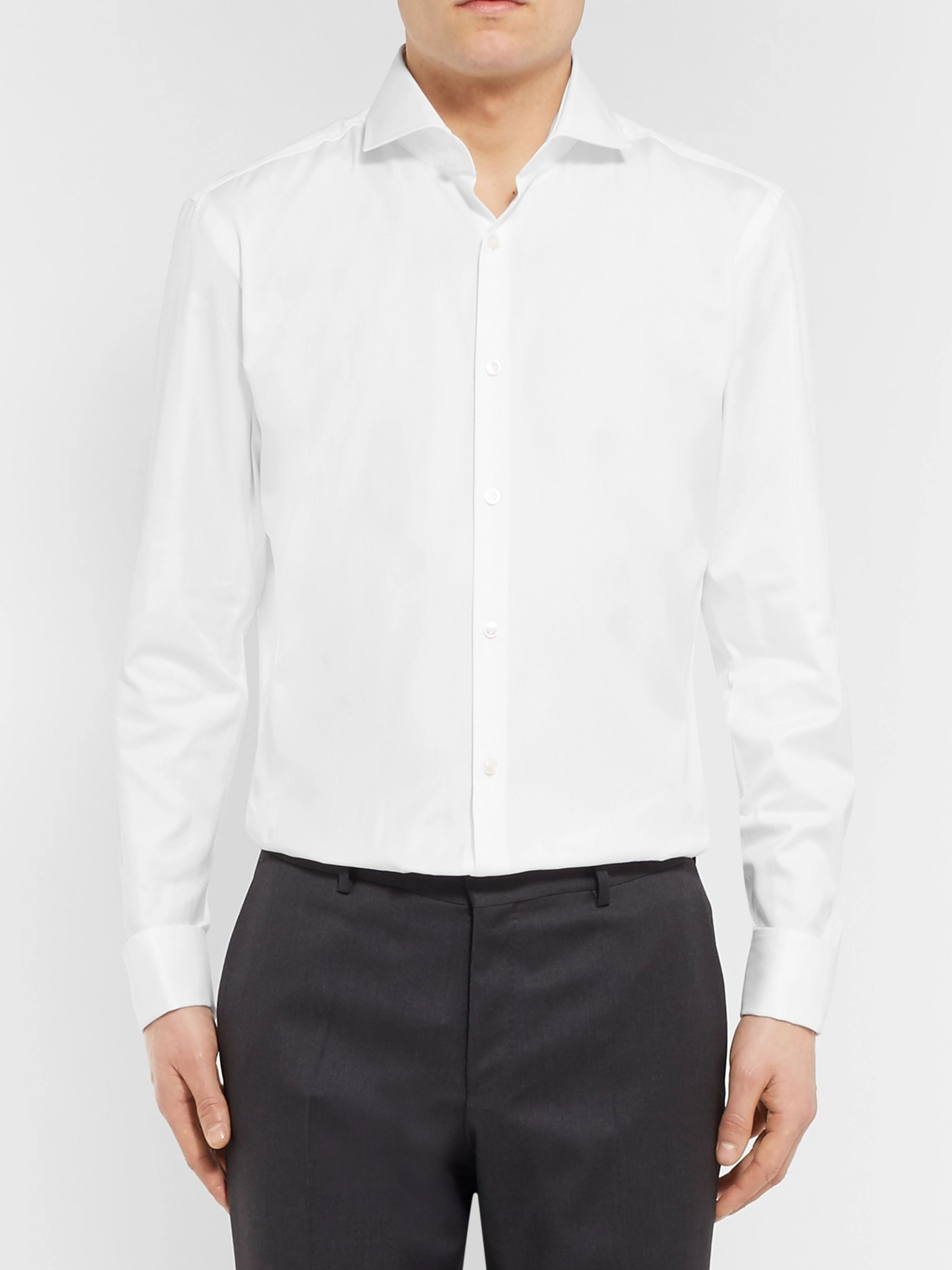 Hugo Boss White Jaiden Slim-Fit Double-Cuff Cotton-Twill Shirt