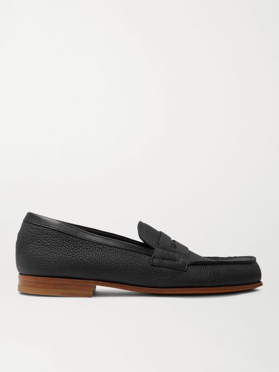 J.M. Weston 281 Le Moc Pebble-Grain Leather Loafers