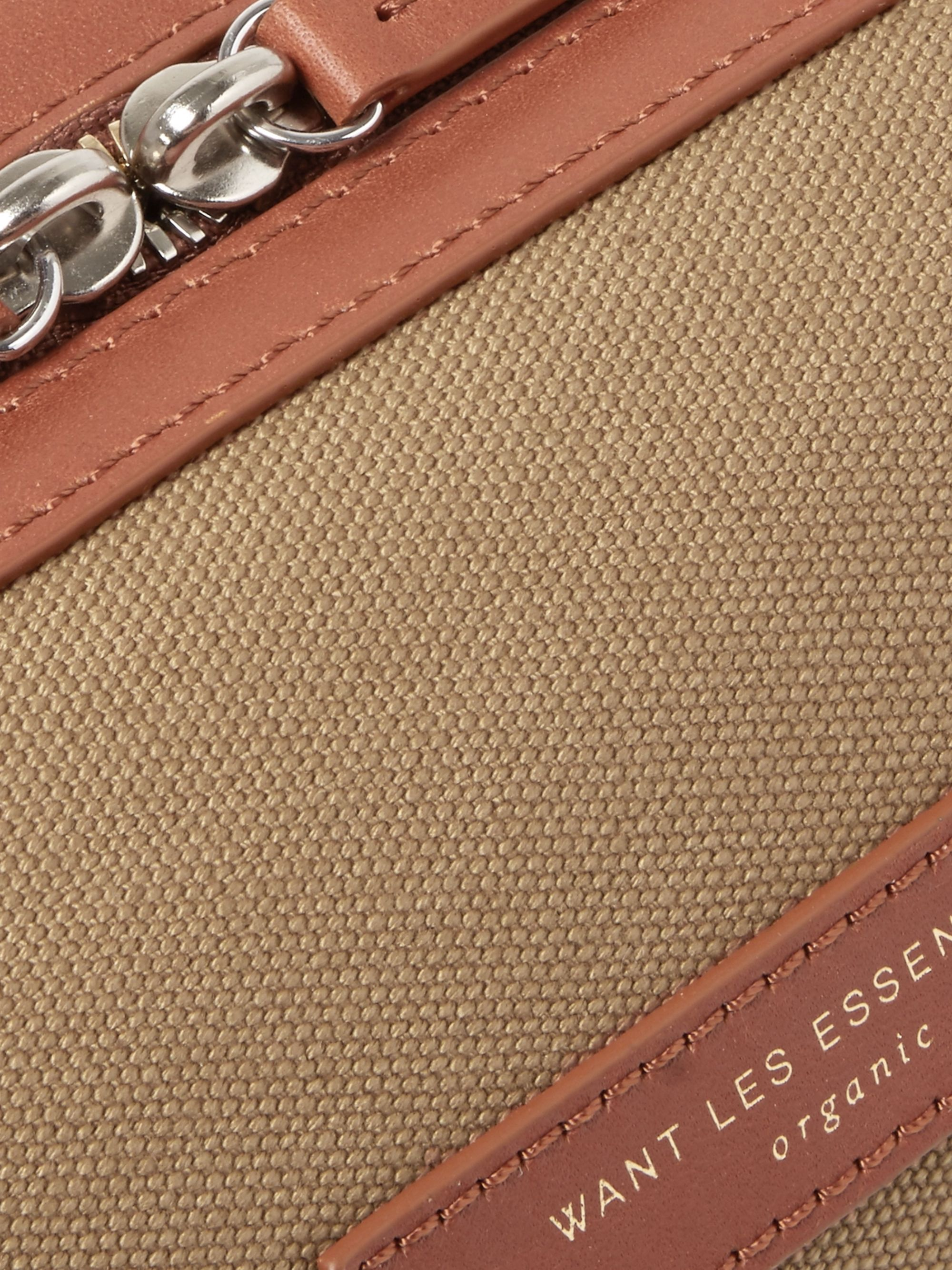 WANT LES ESSENTIELS Kenyatta Leather-Trimmed Organic Cotton-Canvas Wash Bag