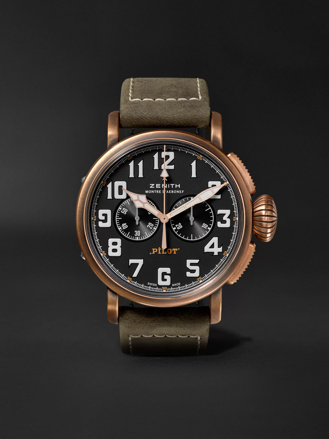 Zenith Pilot Type 20 Extra Special Automatic Chronograph 45mm Bronze And Nubuck Watch, Ref. No. 29.2430.406 In Black