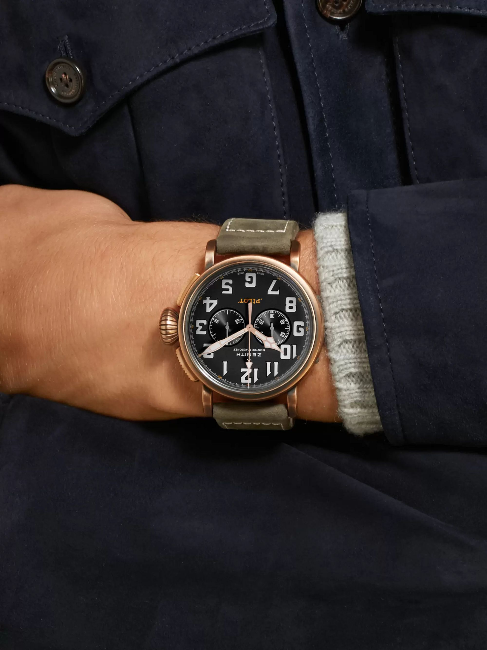Zenith Pilot Type 20 Extra Special Automatic Chronograph 45mm Bronze and Nubuck Watch, Ref. No. 29.2430.4069/21.C800
