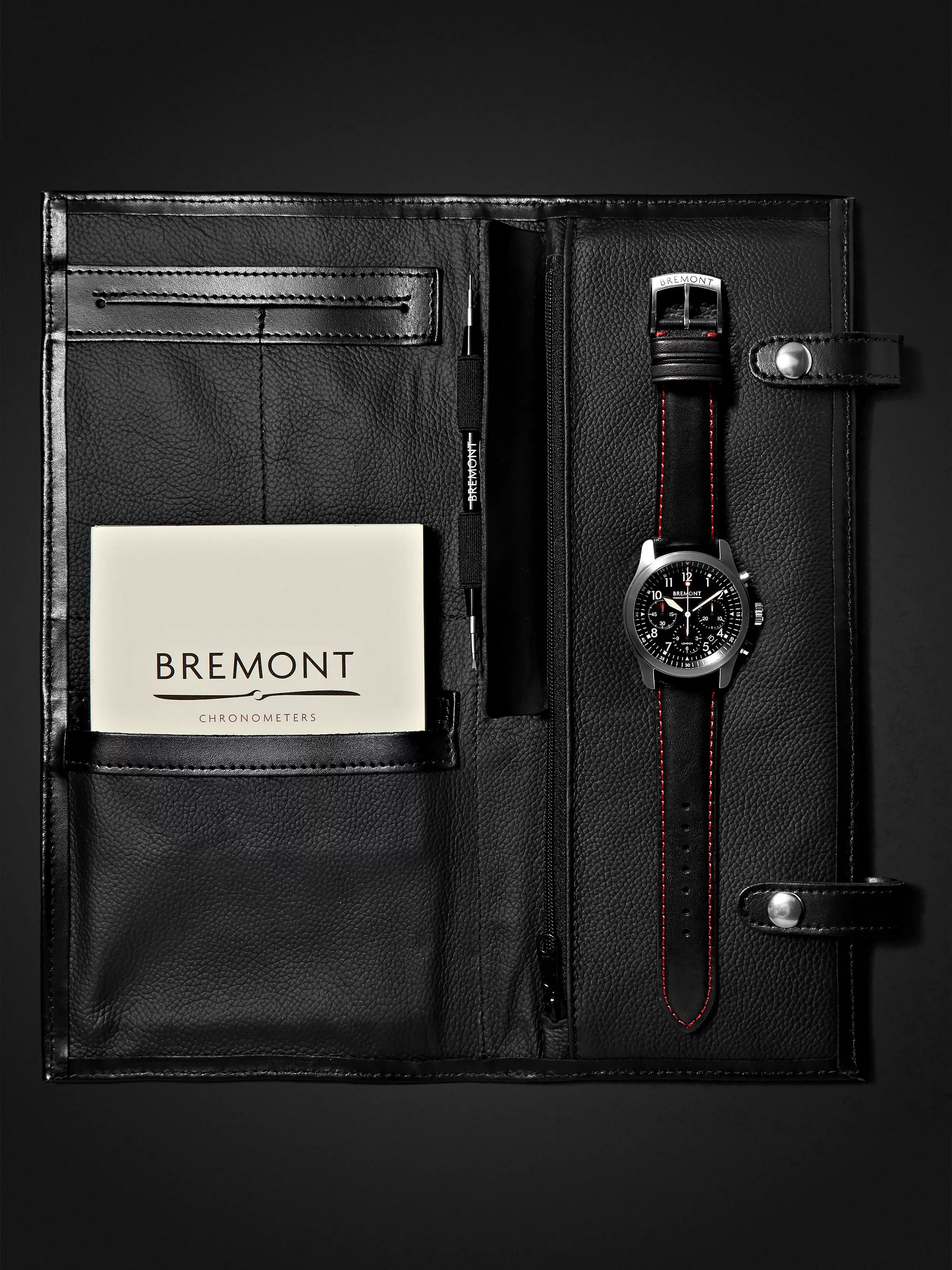 Bremont ALT1-P/BK Automatic Chronograph 43mm Stainless Steel and Leather Watch