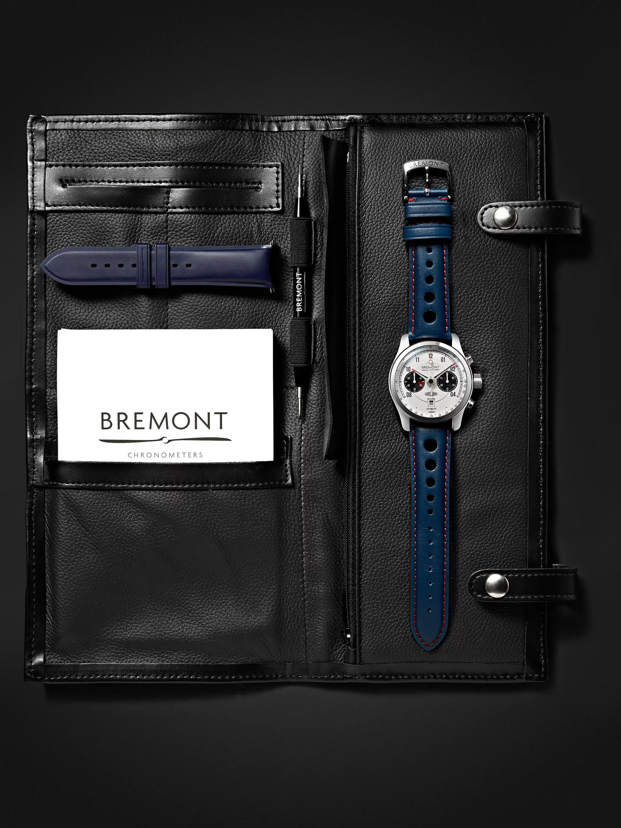 Bremont MKII Jaguar 43mm Stainless Steel and Leather Watch, Ref. No. MK11/WH