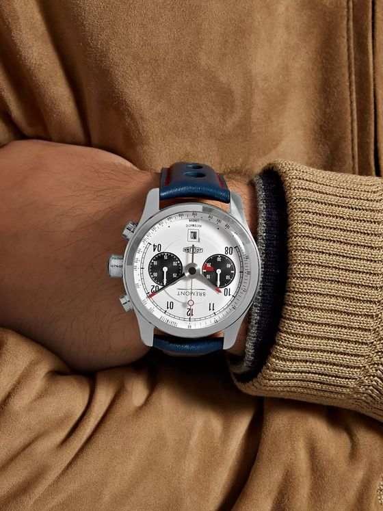 Bremont Jaguar MKII Automatic Chronograph 43mm Stainless Steel and Leather Watch, Ref. No. J-MKII-WH-R-S