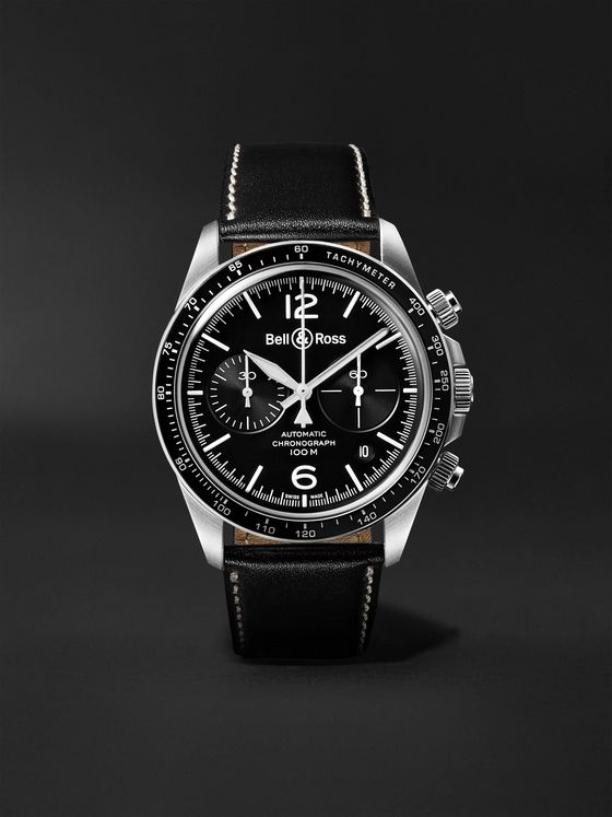 Bell & Ross BR V2-94 Automatic Chronograph 41mm Stainless Steel and Leather Watch, Ref. No. BRV294-­‐BL-­‐ST/SCA