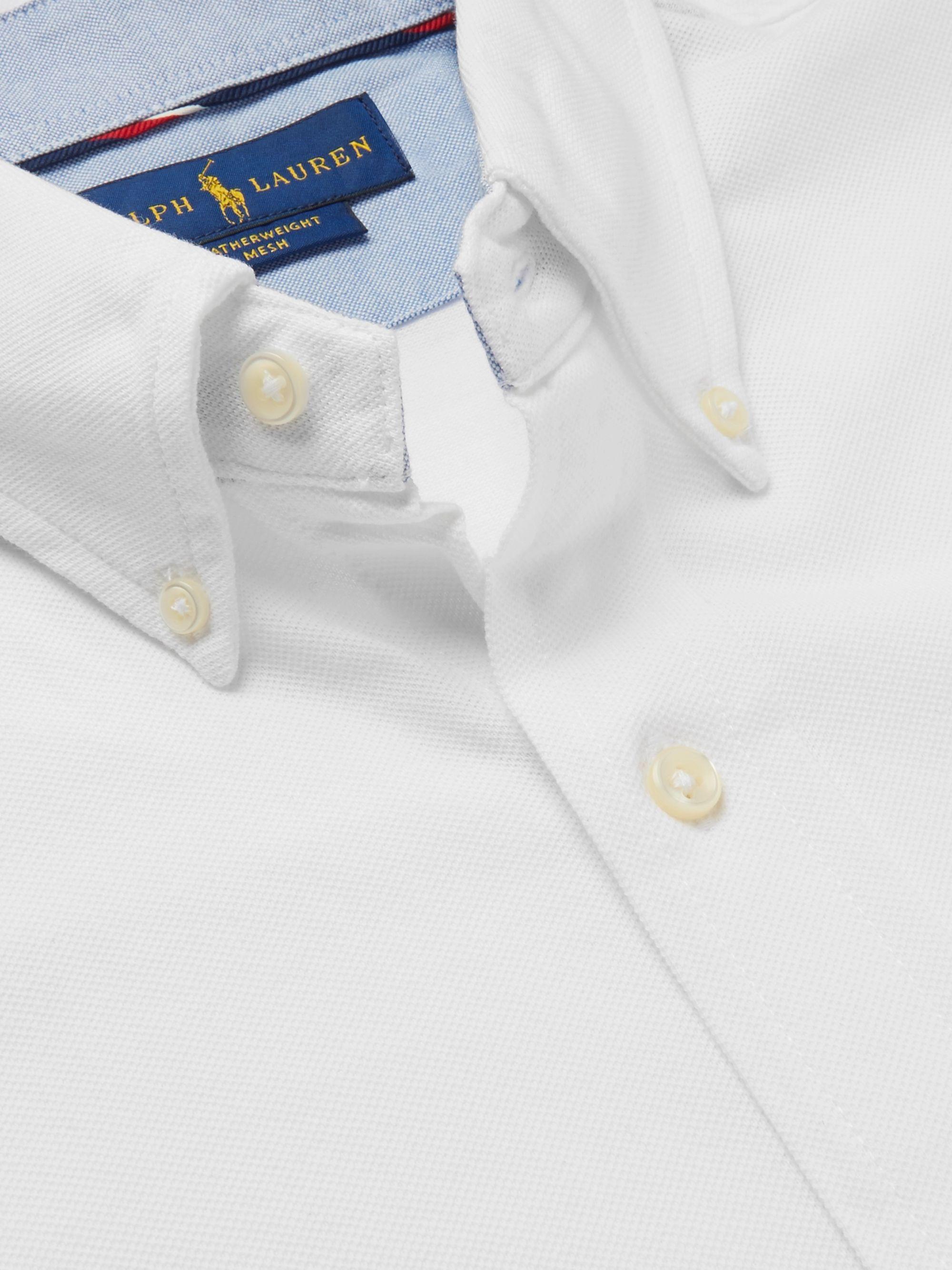 Slim Fit Button Down Collar Cotton Piqué Shirt
