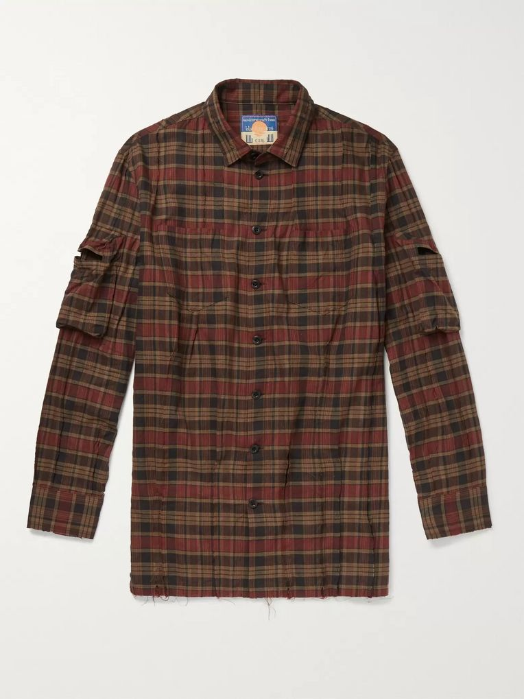 Blackmeans Distressed Checked Cotton Shirt