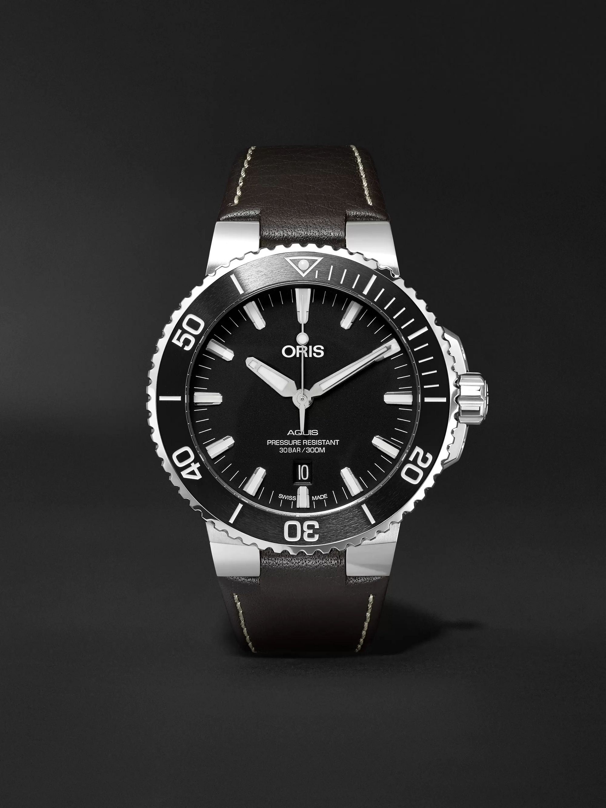 Oris Aquis 43mm Stainless Steel and Leather Watch, Ref. No. 01 733 7730 4154-07 5 24 10EB
