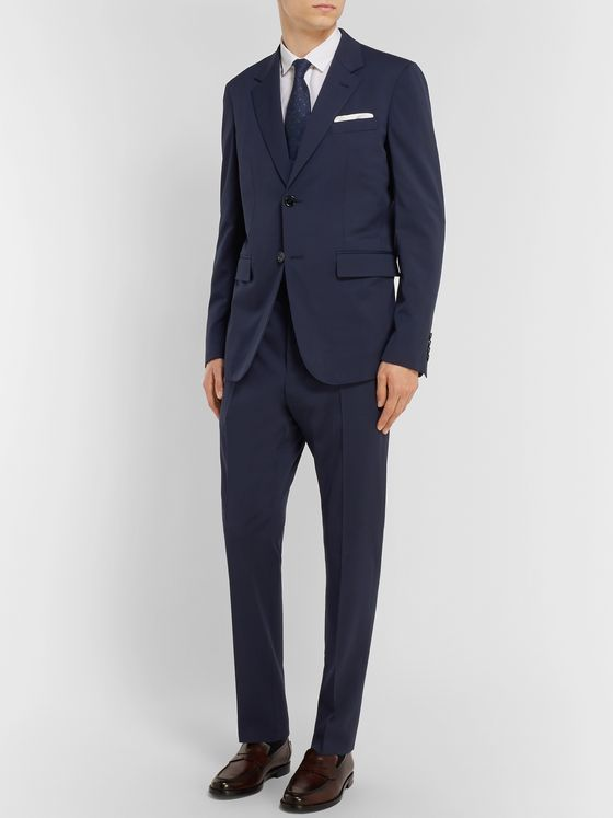 Berluti Navy Stretch-Wool Twill Suit Jacket