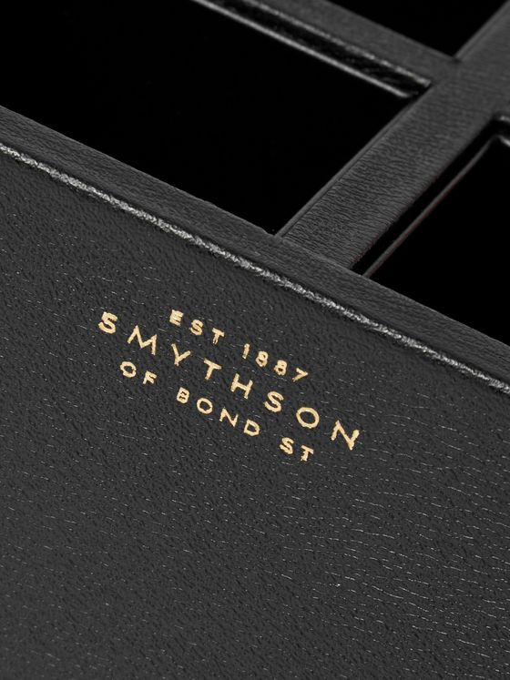 Smythson Grosvenor Full-Grain Leather Pen Pot