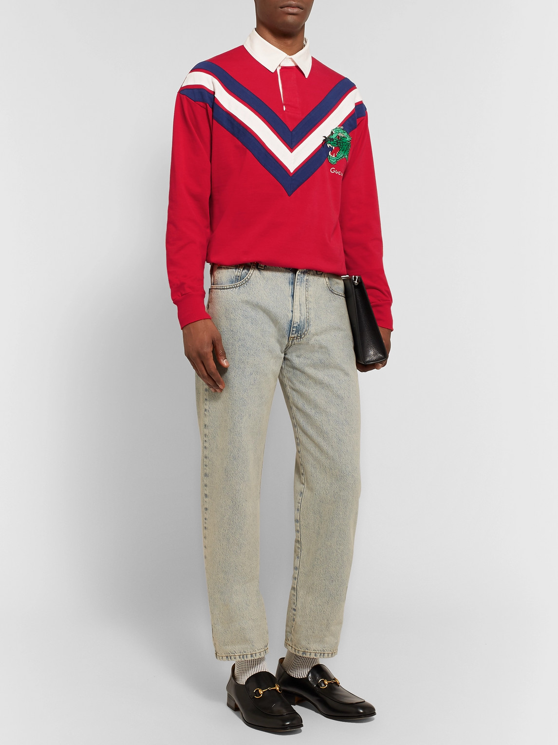 Gucci T-shirts APPLIQUÉD TWILL-TRIMMED COTTON-JERSEY RUGBY SHIRT