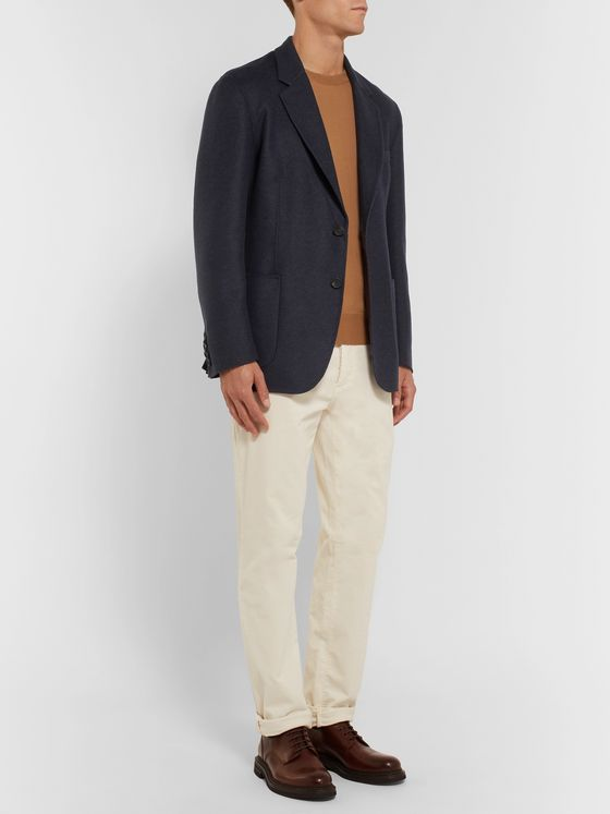 Brioni Navy Unstructured Double-Faced Wool and Cashmere-Blend Blazer