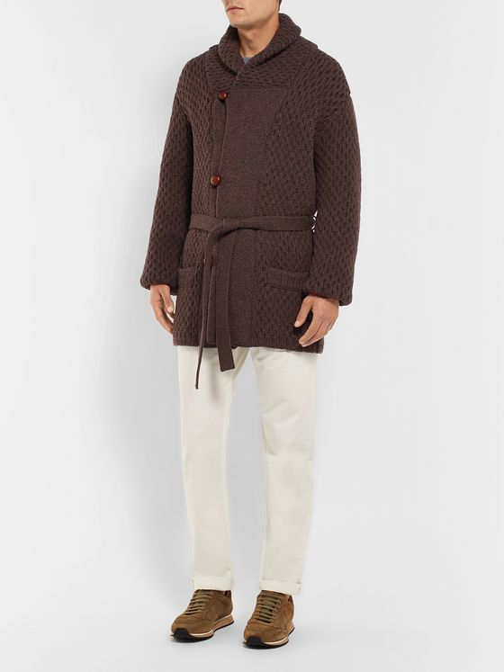 Brioni Shawl-Collar Cable-Knit Wool Cardigan