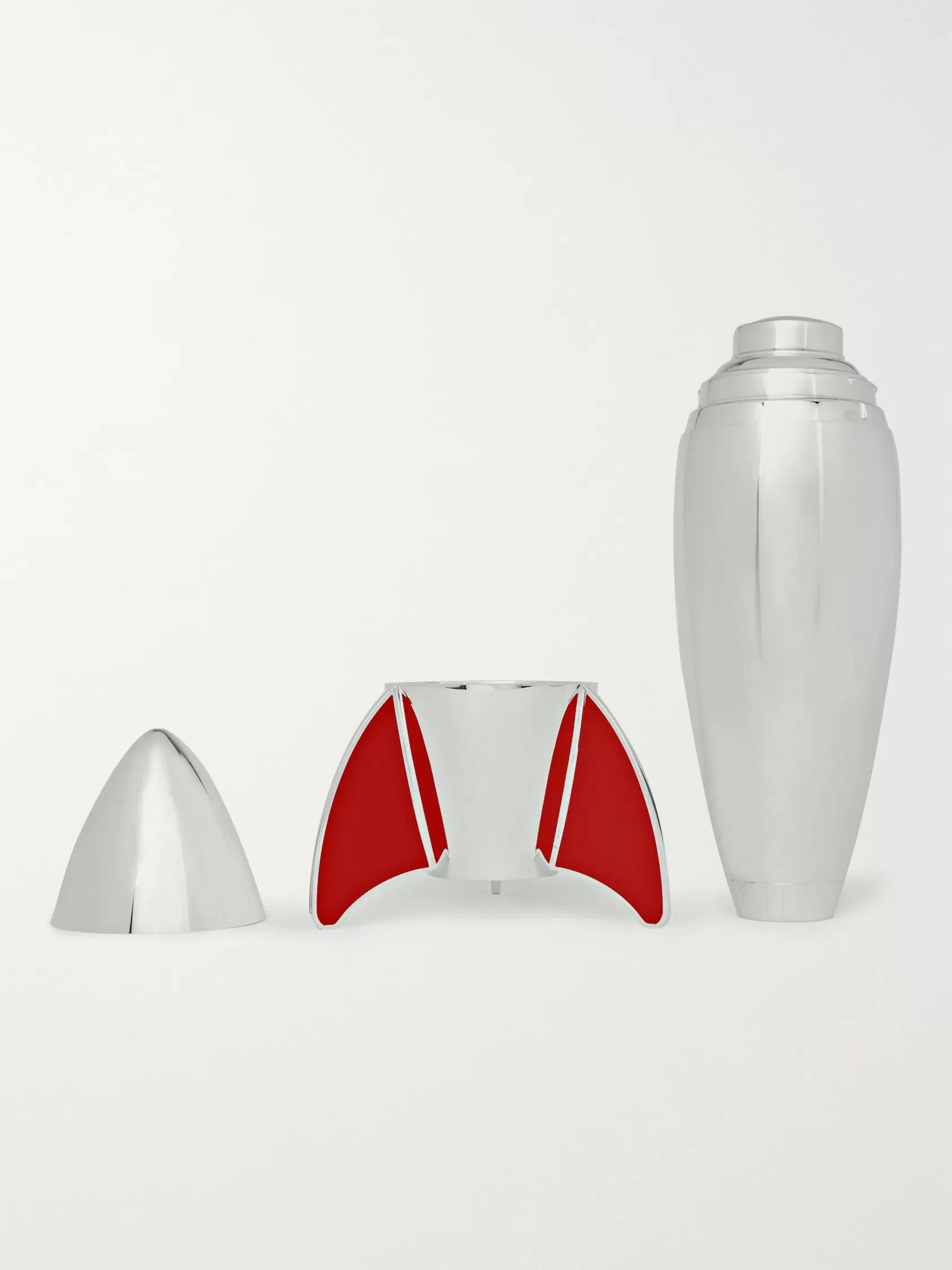 Asprey Rocket Sterling Silver and Enamel Cocktail Shaker