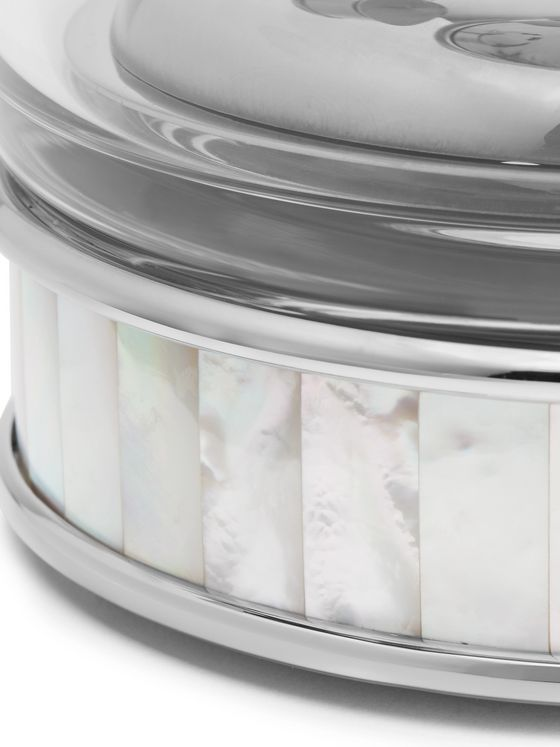 LORENZI MILANO Glass, Silver-Tone and Mother-of-Pearl Ice Bucket and Tongs