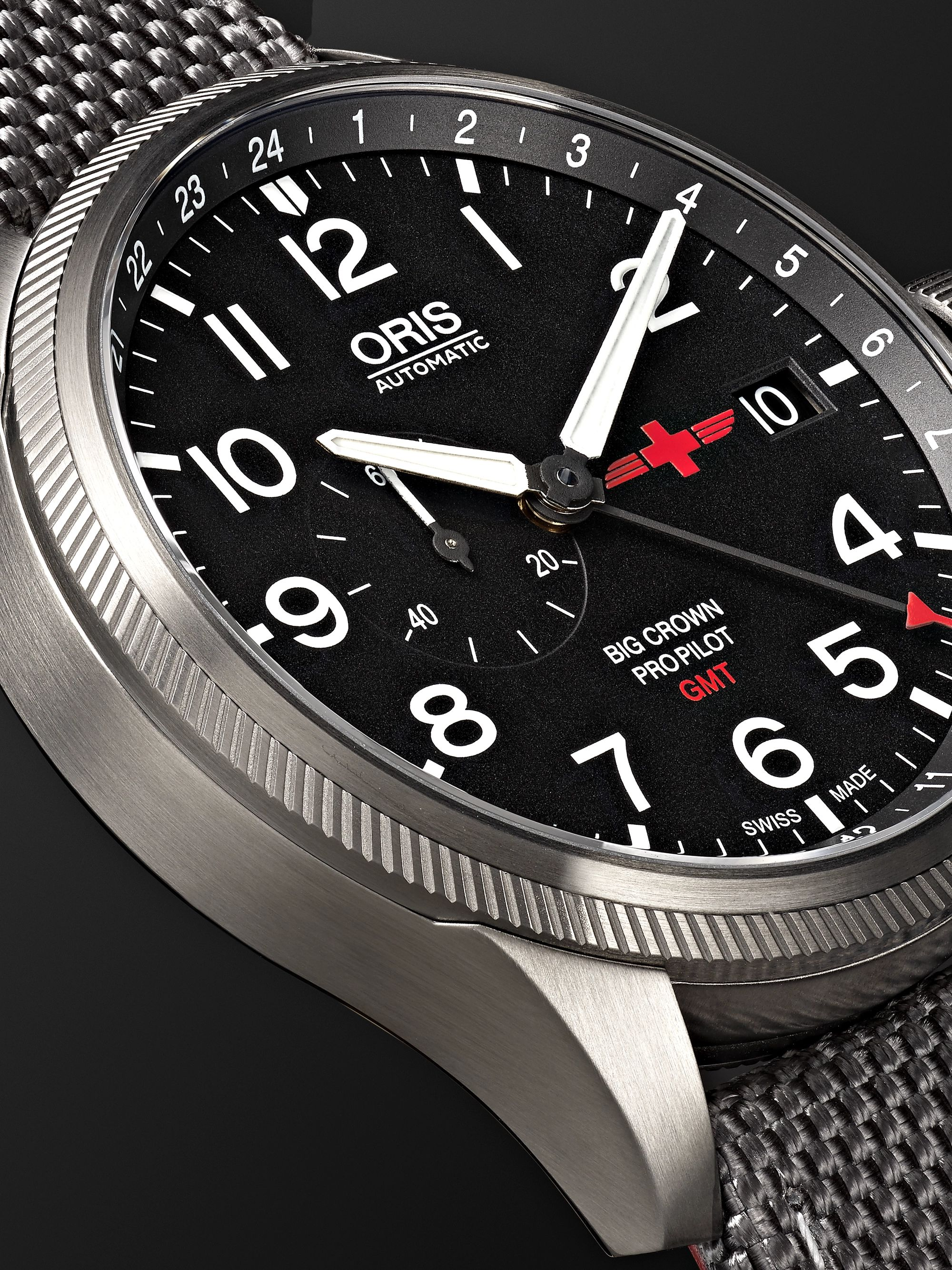 Oris GMT Rega Limited Edition Automatic 45mm Stainless Steel and Canvas Watch, Ref. No. 01 748 7710 4284