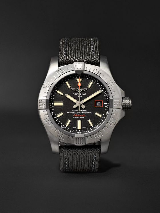 Breitling Avenger Blackbird Automatic 44mm Titanium and Canvas Watch, Ref. No. V1731110/BD74