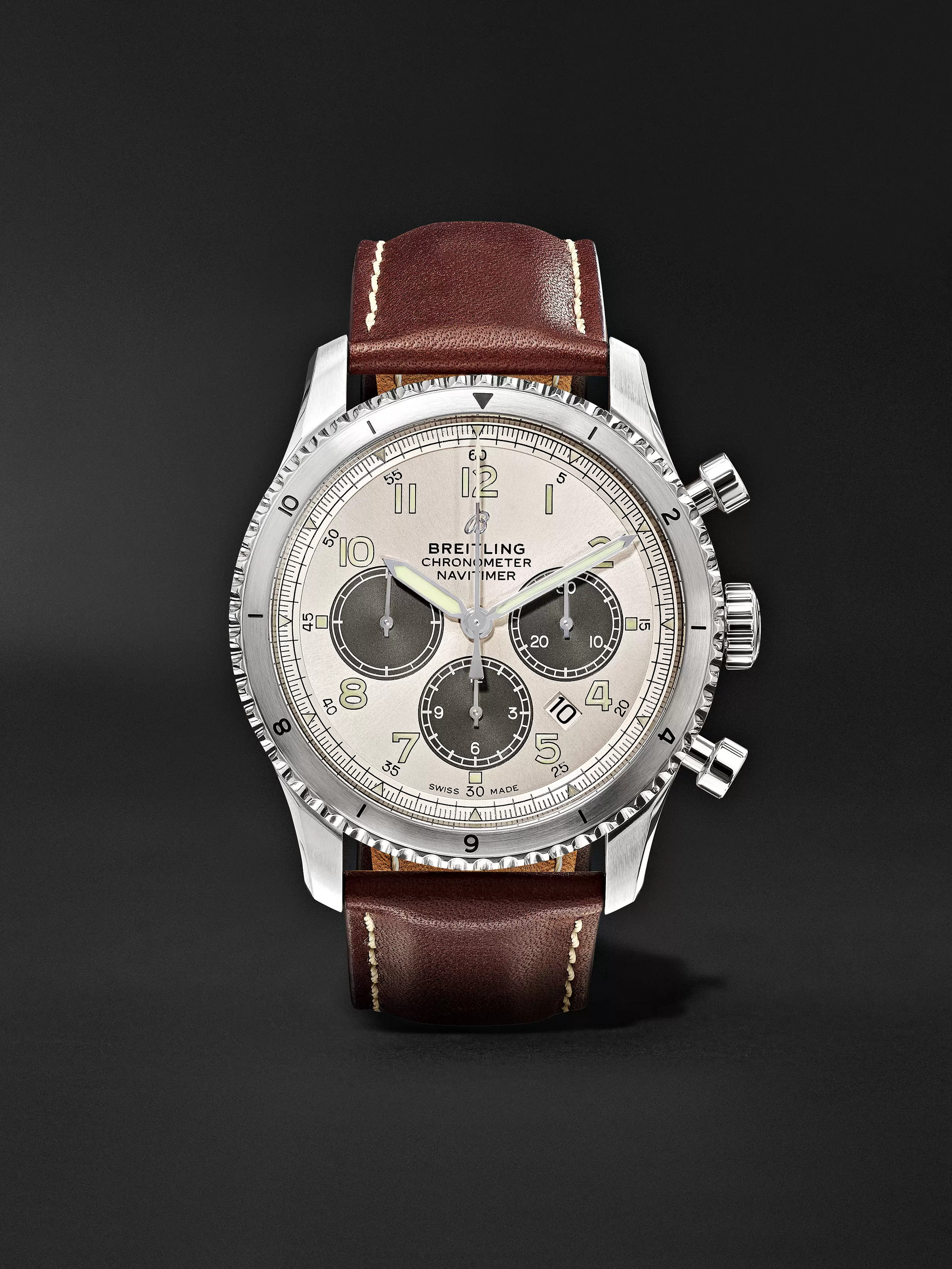 Breitling Navitimer 8 B01 Chronograph 43mm Stainless Steel and Leather Watch