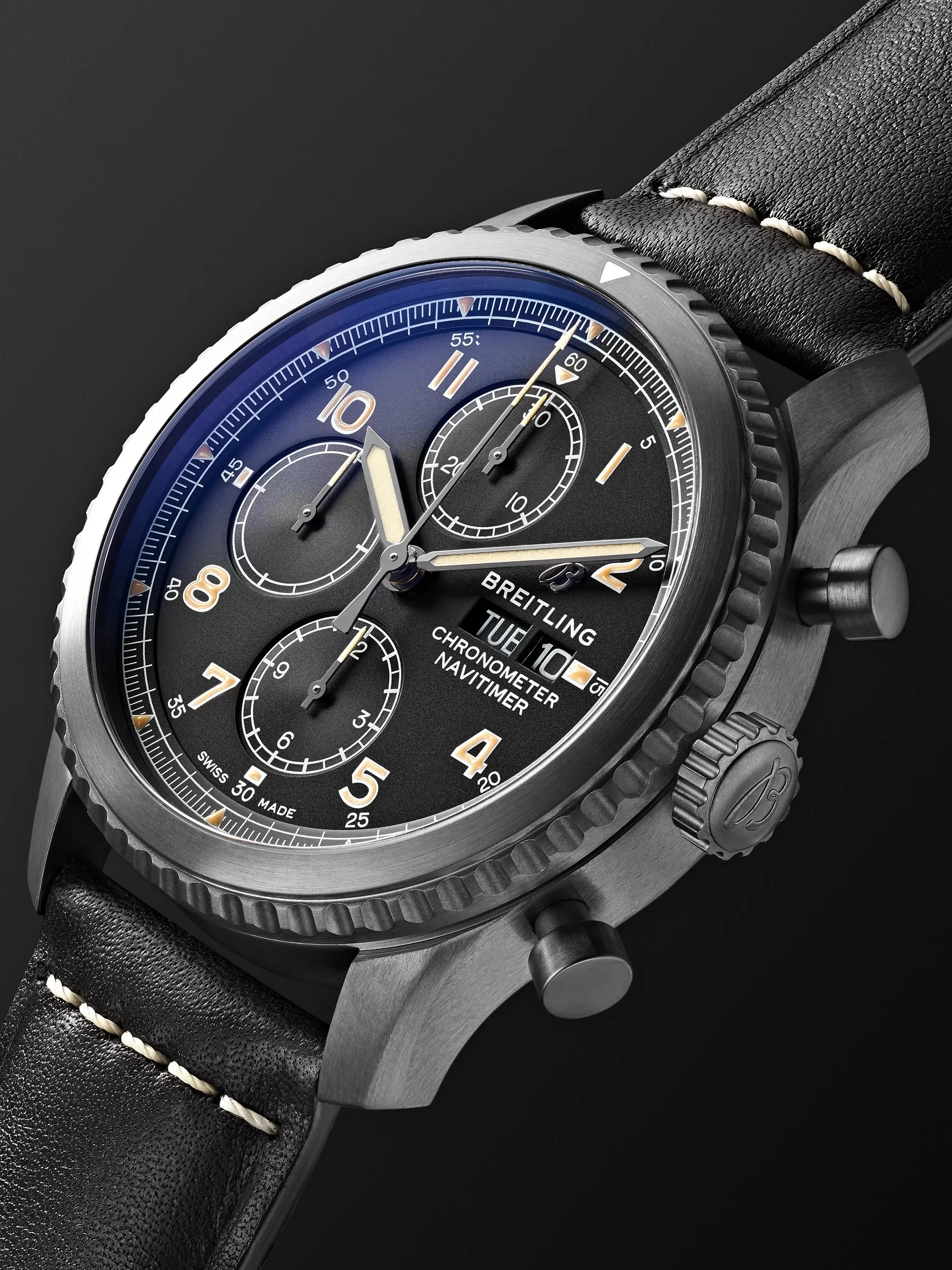 Breitling Navitimer 8 Chronograph 43mm Black Steel and Leather Watch